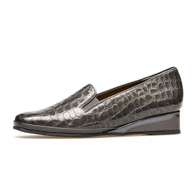 Van Dal Rochester II Storm Grey Patent Croc Wedge Shoe