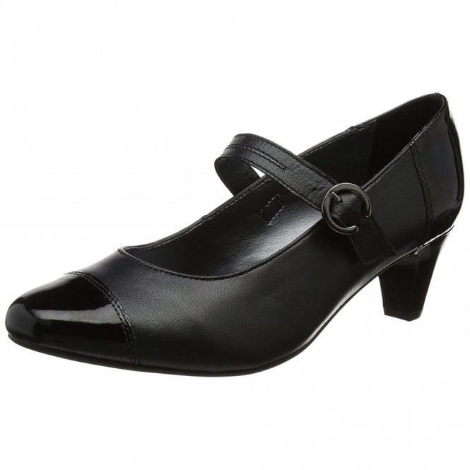 Padders Jean Black Leather Combi Court Shoe