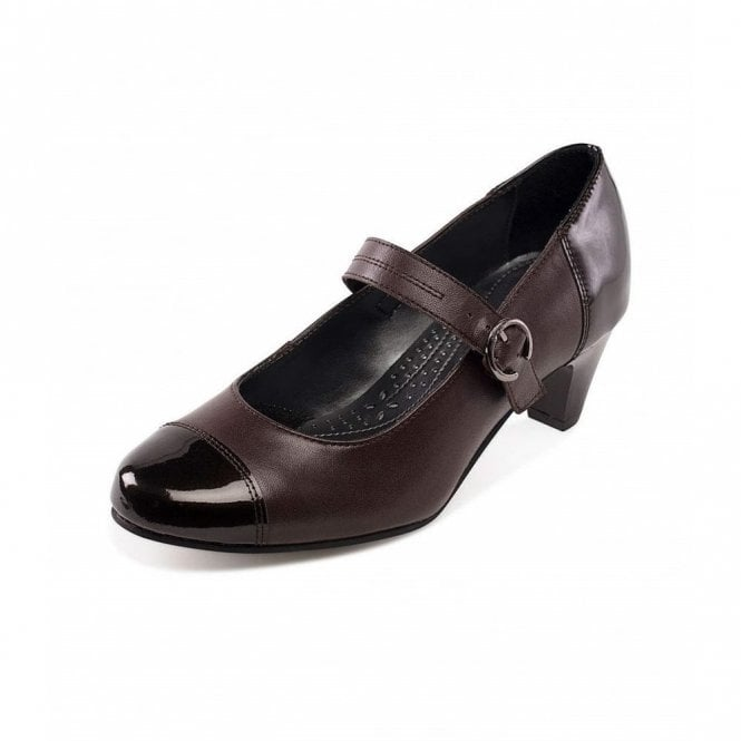 Padders Jean Brown Leather Combi Court Shoe