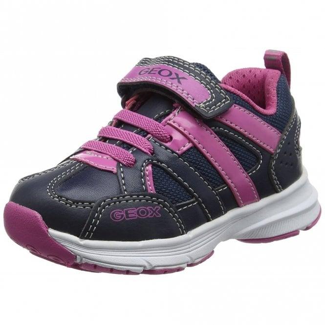 Geox J Top Fly Navy / Fuchsia Girls Trainer Shoe