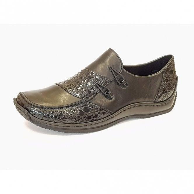 Rieker L1762-48 Black / Granite Leather Shoe