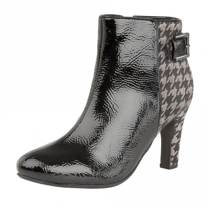 Lotus Soni Black Crinkle Shiny & Pewter Print Heeled Ankle Boots