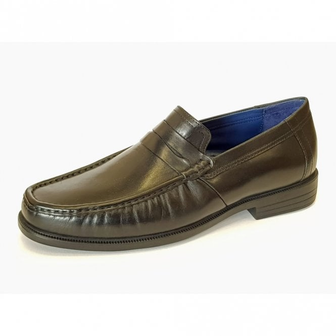 Padders Baron Black Leather Slip On Shoe