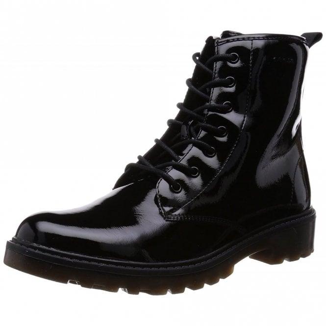 Geox J Casey G J5420K Black Patent Girls Boot