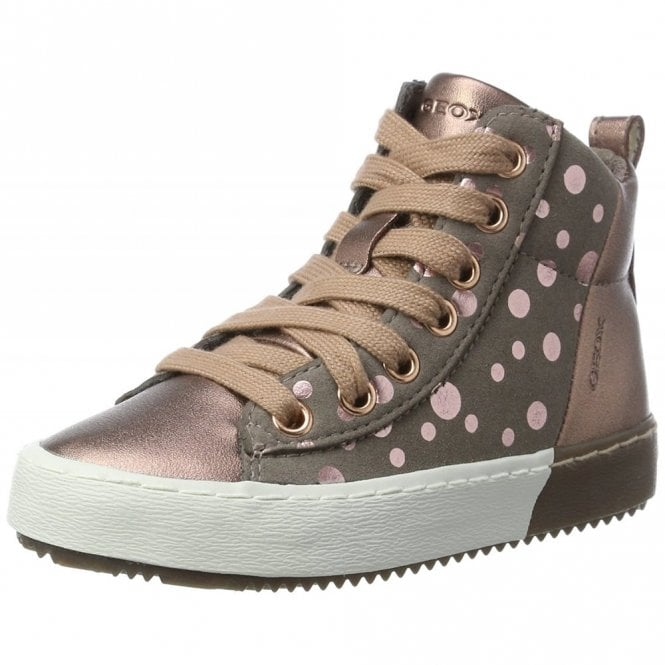 Geox J Kalispera Pink Rose Smoke Zip Lace Up Girls Boot