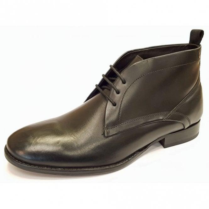 Base London Deacon Black Leather Lace Chukka Boot