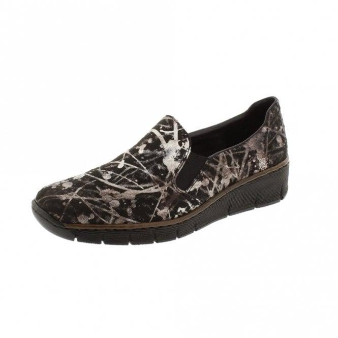 Rieker 53766-90 Black Metallic Print Ladies Slip On Shoe