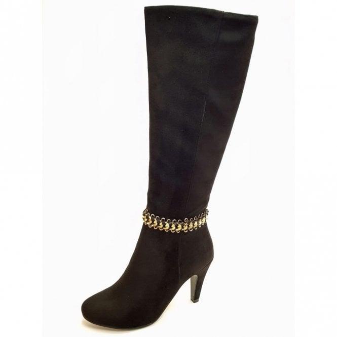 Lunar Chase GLC630 Black Suede Look Ladies Boot