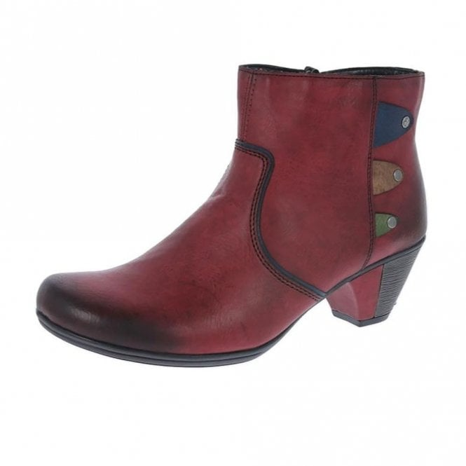 Rieker Y7273-36 Wine Multi Synthetic Ankle Boot
