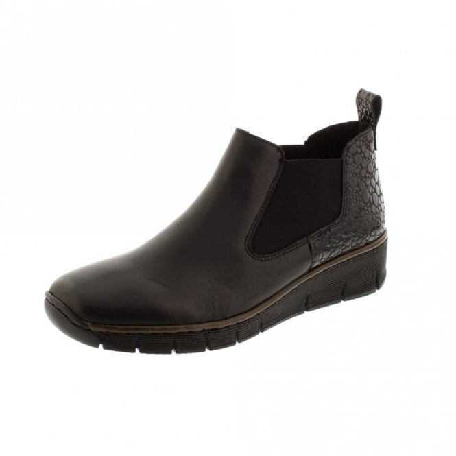 Rieker 53794-00 Black Leather Ankle Boot