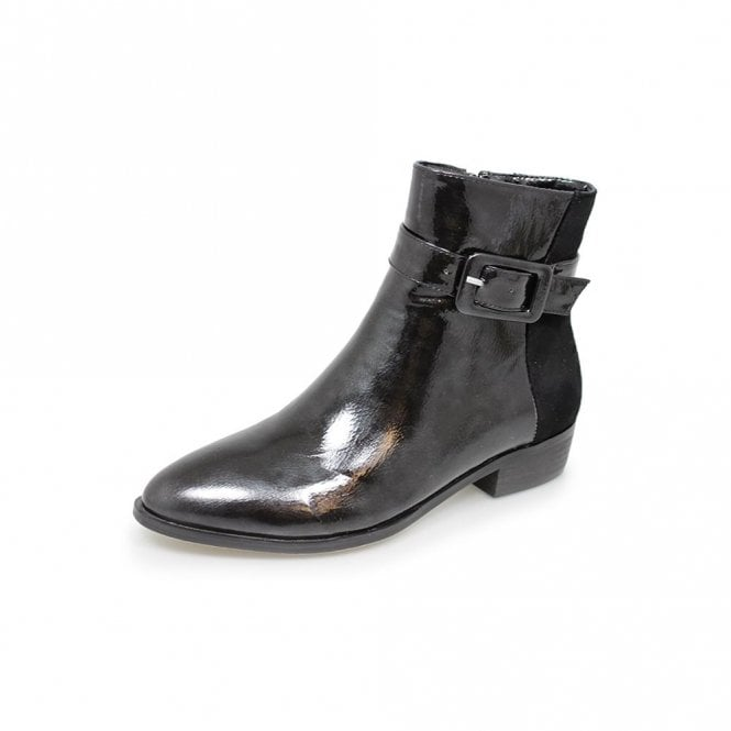 Lunar Croft GLC583 Black Patent Ladies Ankle Boot