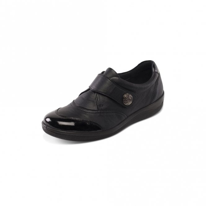 Padders Gaby Black Leather with Patent Velcro Shoe