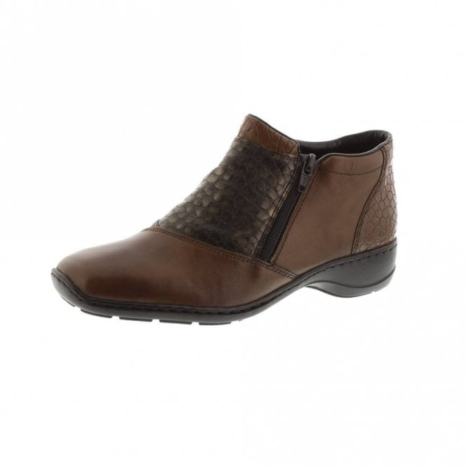 Rieker 58359-25 Brown Leather / Croc Twin Zip Ankle Boot