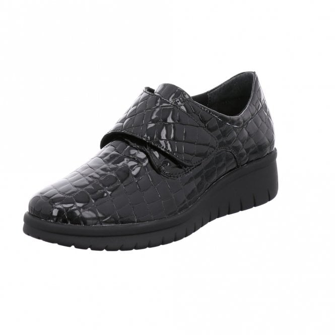 Romika Varese N 12 Black Patent Croc Wedge Velcro Shoe