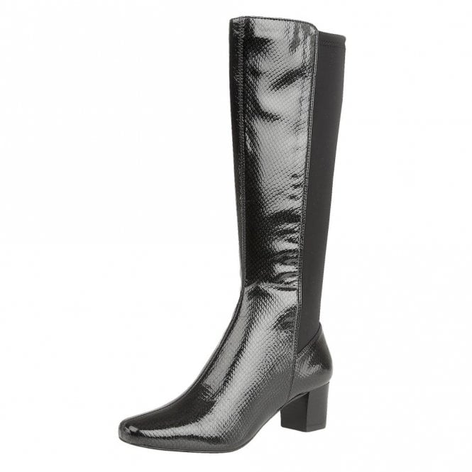 Lotus Dorada Black Shiny Snake Knee-High Heeled Boots