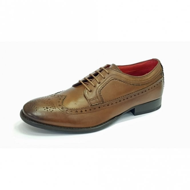 Base London Bailey Burnished Tan Leather Lace Derby Brogue Shoe