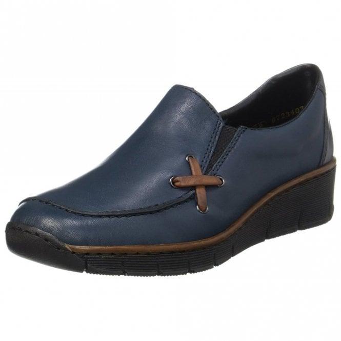 Rieker 53783-14 Navy Leather Ladies Slip On Shoe