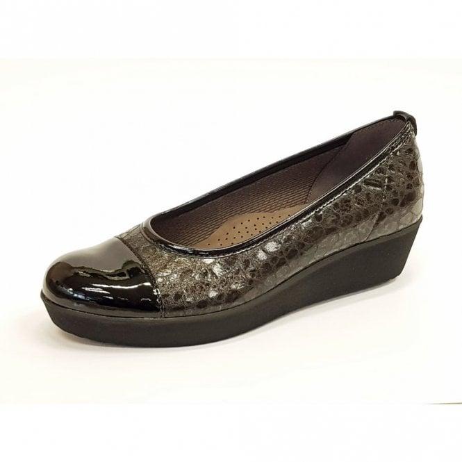 Gabor Orient 76.471.27 Black Patent / Croc Pump Shoe