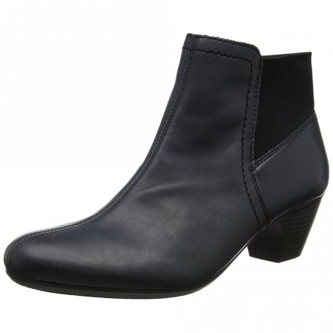 Rieker 70584-14 Navy Leather Ankle Boot