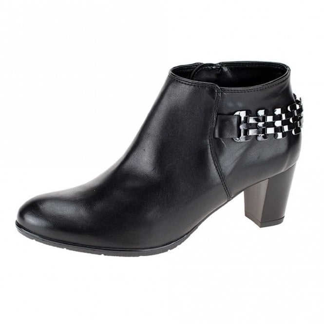 Ara 43463-77 Black Leather Ankle Boot