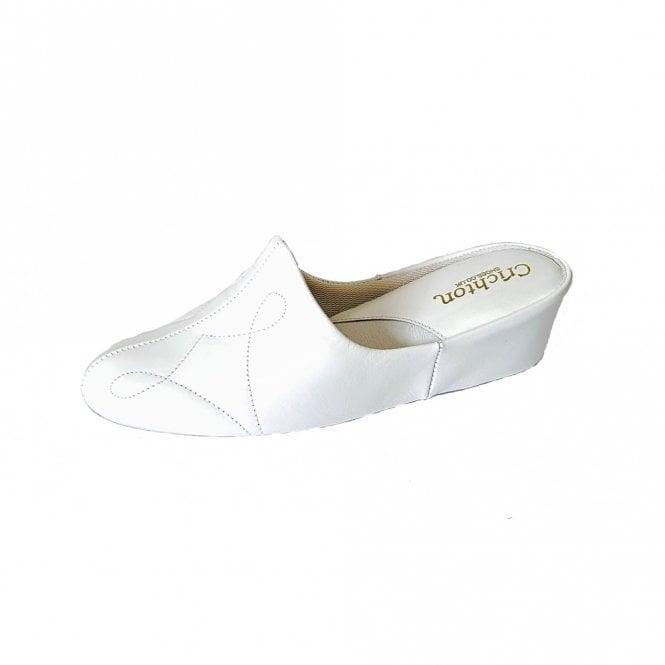 Relax Dulcie 7312 White Leather Ladies Slipper