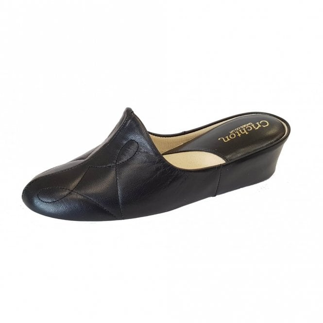 Relax Dulcie 7312 Black Leather Ladies Slipper