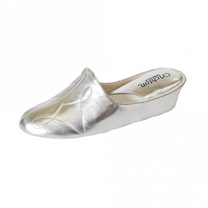 Relax Dulcie 7312 Silver Leather Ladies Slipper