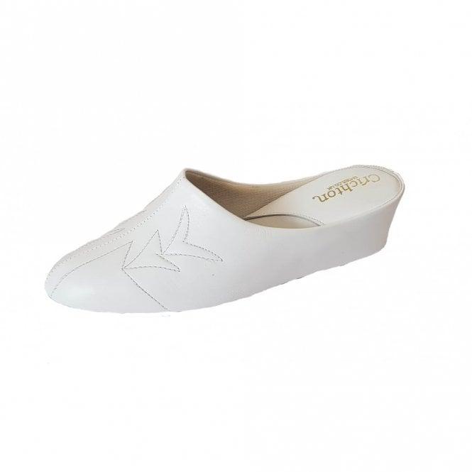 Relax Natalia 7352 White Leather Ladies Slipper