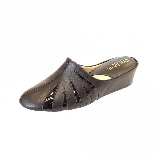 Relax Mandy 3539 Black Leather with Patent Leather Ladies Slipper