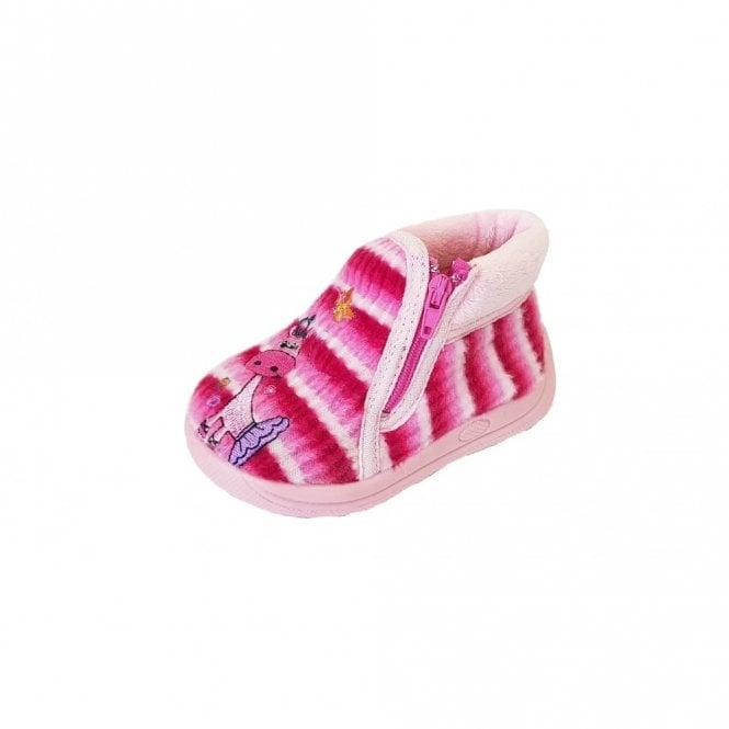 Mirak Safari Pink Fabric Girls Slipper