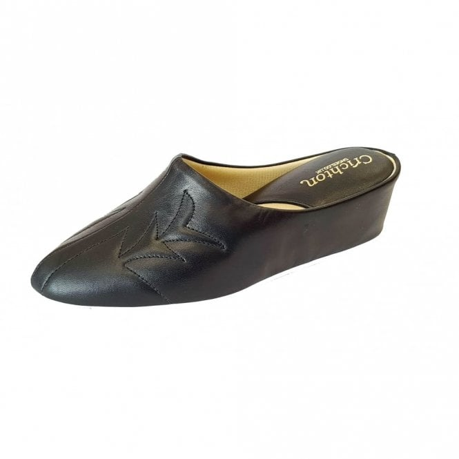 Relax Natalia 7352 Black Leather Ladies Slipper
