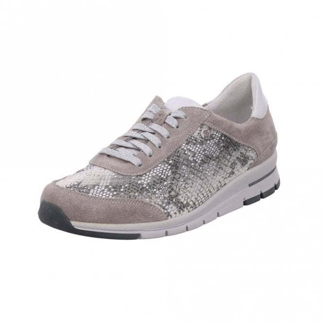 Romika Tabea 20 Gray With Snake Print Lacing Shoe
