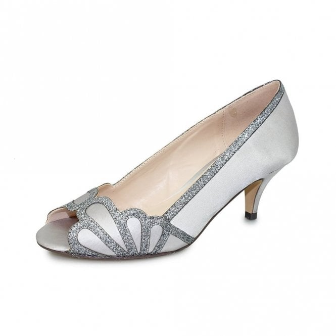 Lunar Dalia FLR470 Grey Satin Lower Heeled Peep Toe Court Shoe