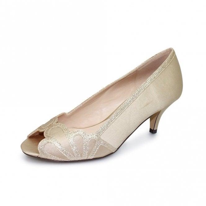 Lunar Dalia FLR470 Chanpagne Satin Lower Heeled Peep Toe Court Shoe
