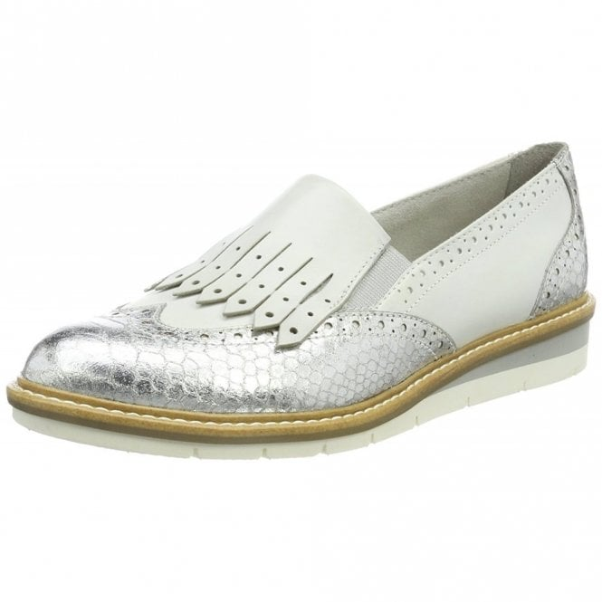 Tamaris 24305-20 White / Silver Combination Loafer Shoe