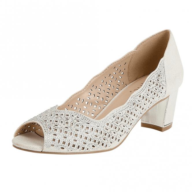 Lotus Attica Silver & Diamante Open-Toe Court Shoes