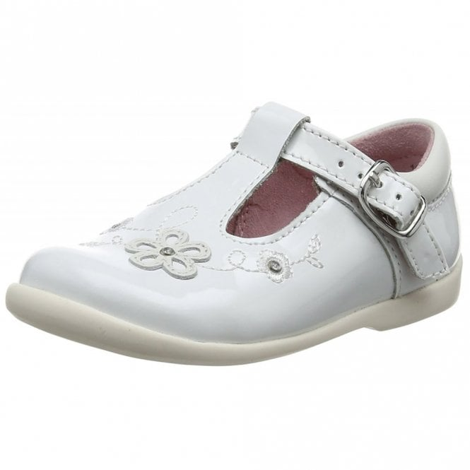 Start-rite Sunflower Girl's White Patent First Walking Shoe