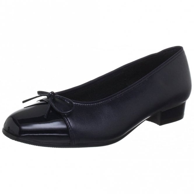 43708-05 Navy Patent Toe Cap Pump Shoe