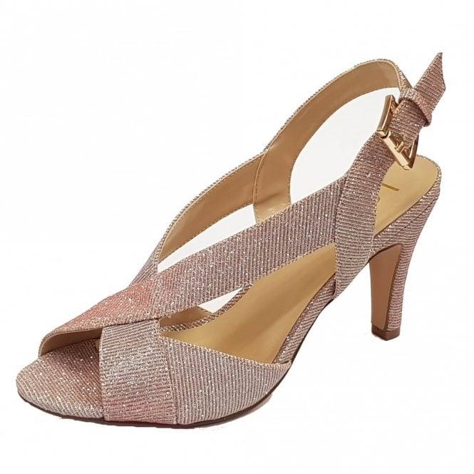 Lotus Endive Pink Textile Open-Toe Sling-Back Shoes