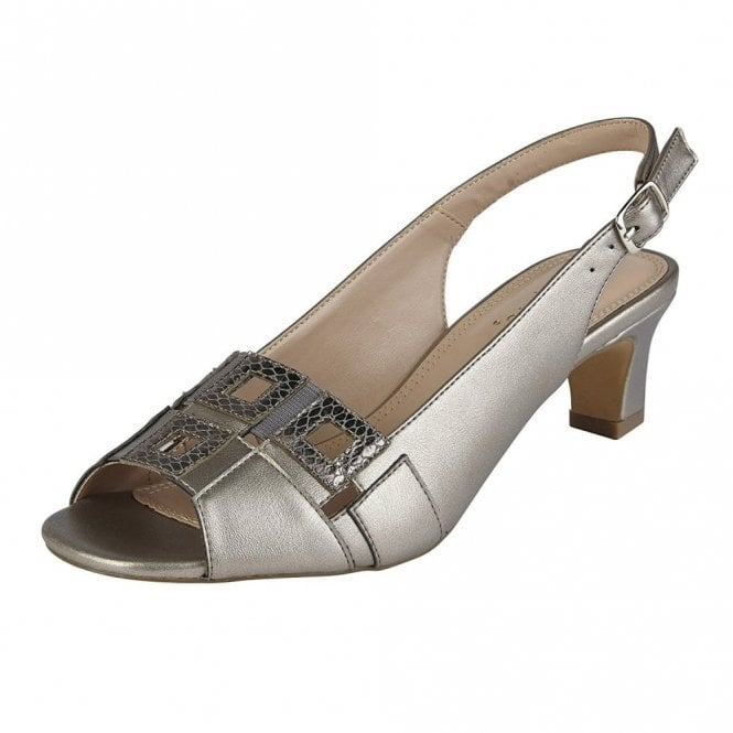 Lotus Aubrey Pewter Open Toe Sling-Back Sandals