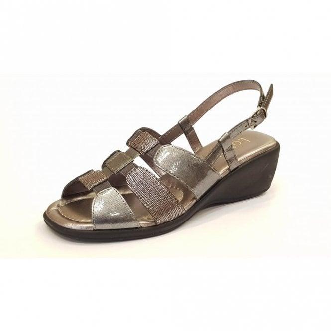 Lotus Mississippi Pewter Leather Sling-Back Sandals