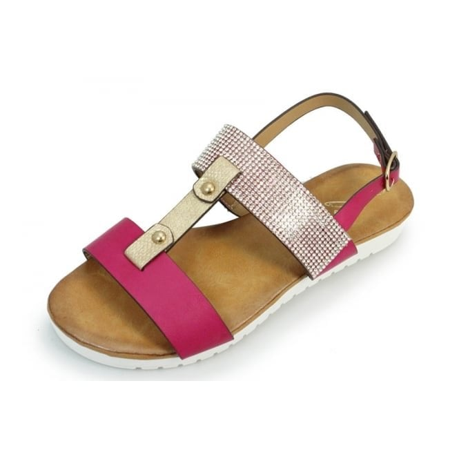 Lunar Saffie Cerise Sandal with Diamonte Trim