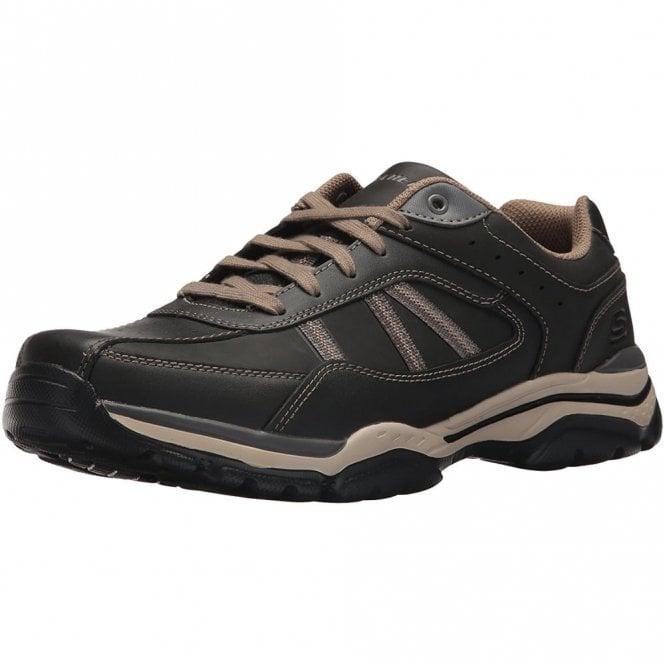 Skechers Relaxed Fit: Rovato Black / Taupe Leather Mens Shoe