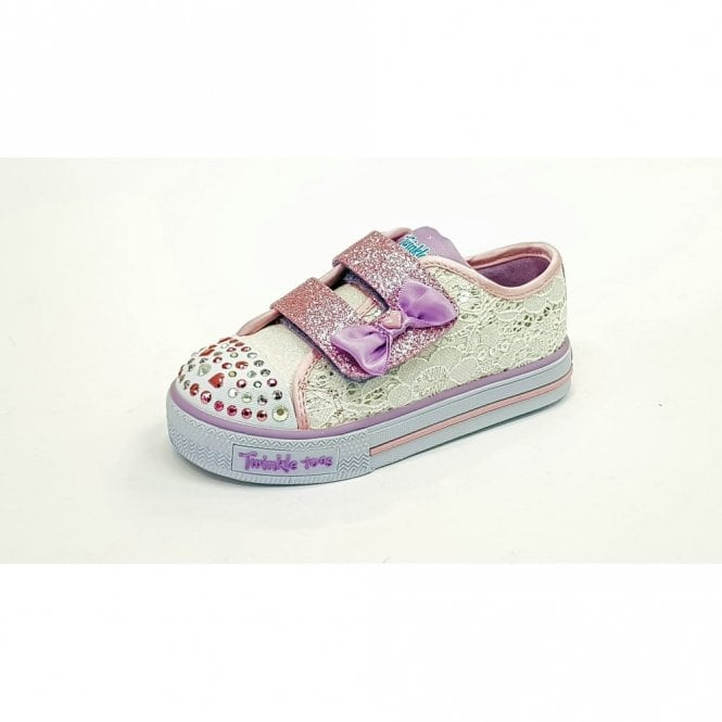 Skechers Twinkle Toes: Shuffles - Sweet Stepper White / Silver / Pink Fabric