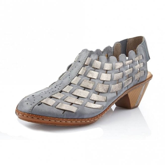 Rieker Newark 46778-13 Blue / Metallic Leather Shoe