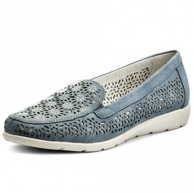 Remonte Dorndorf D1918-14 Blue Laser Cut Loafer Shoe