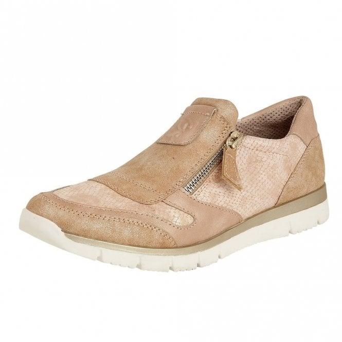 Lotus Marigold Rose Snake Print Zip-Up Shoes
