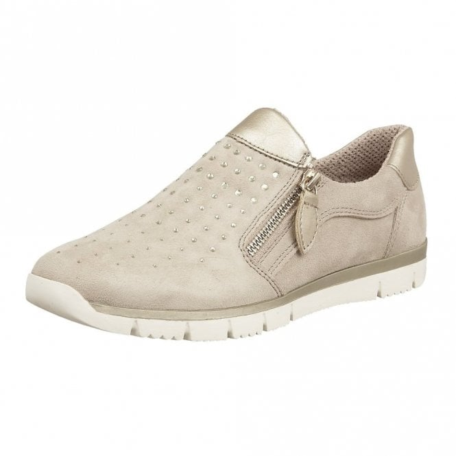 Lotus Ferruccio Beige Diamante Beige Zip-Up Trainers