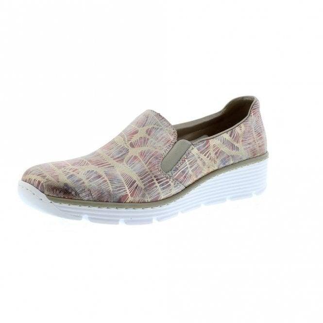 Rieker 58766-92 Multicoloured Metallic Print Ladies Slip On Shoe