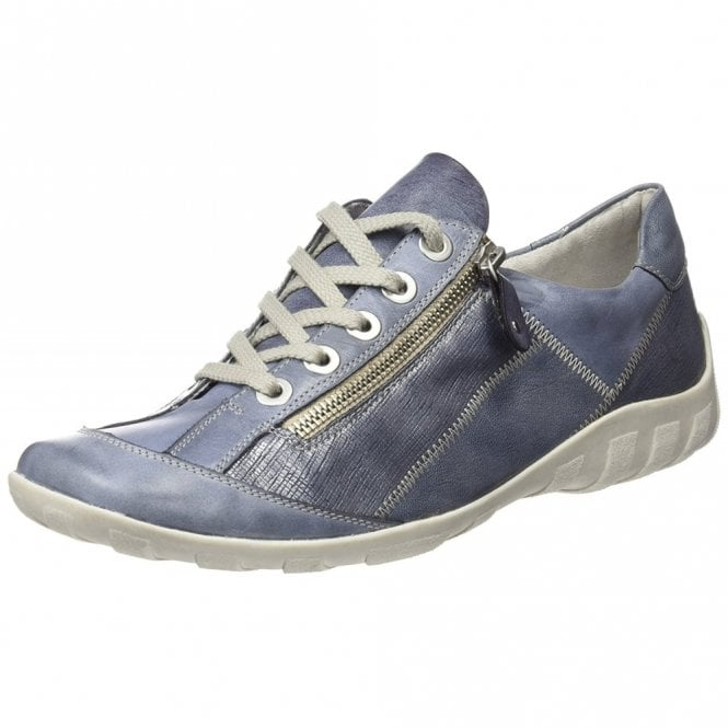 R3419-16 Blue Jeans Leather / Synthetic Lace Up Shoe